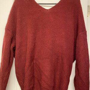 Vici Sweaters - Don't Get It Twisted Vici Sweater in Burgundy